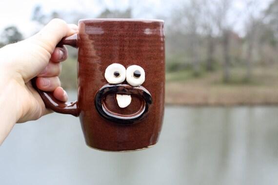 Cute Happy Coffee Cup, Red Coffee Mug