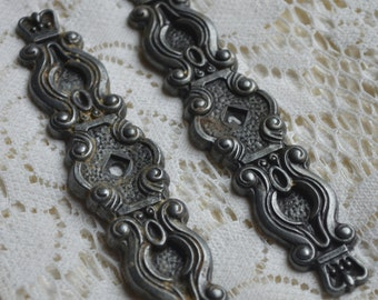 ANTIQUE METAL HARDWARE furniture drawer hardware silver filigree altered art assemblage collage mixed media