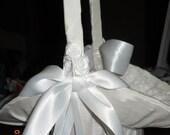 Flower Girl Basket Wedding White Satin covered basket ON SALE NOW
