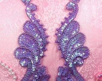 """0016 Mirror Pair Lavender AB Sequin Beaded Appliques 8.5"""" (0016-lvab)"""