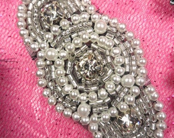 "JB129 Silver Beaded Rhinestone Pearl Applique With Black Backing 2.25"" (JB129-bkcrp)"