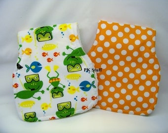 Contoured Burp Cloth in Scuba Doo in White - Shoulder Cloth - Set of Two - Ready To Ship
