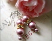 Pink Rose Pearl Earrings Sterling Silver  - Pink Sophisticate
