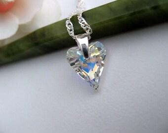 Sale - Swarovski Crystal Necklace - Sterling Silver Jewelry - Crystal Heart Pendant - Wedding Jewelry - Bridesmaid Jewelry