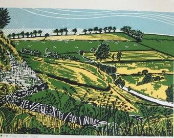 Trail View Linocut print