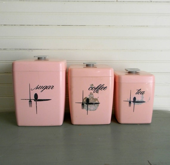 vintage 1950s kitchen canisters pink kitchen canisters set of