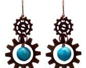 Copper Gear Earrings with blue crazy lace agate antiqued copper gears with pure copper earwires