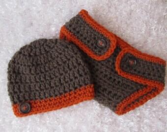 Newborn Baby Boy's Diaper Cover Set - Hand Crocheted - Photographer's Prop