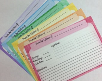 Recipe Cards -- 60 Personalized 4x6 Double Sided