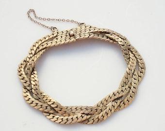 SALE /// Vintage Gold Braided Link Bracelet - 1940s Retro Glamour