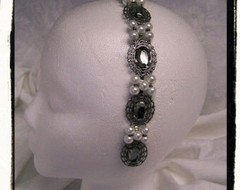 Grey Crystal Queen Catherine Pearl Medieval Renaissance Game of Thrones Filigree Circlet Head Band