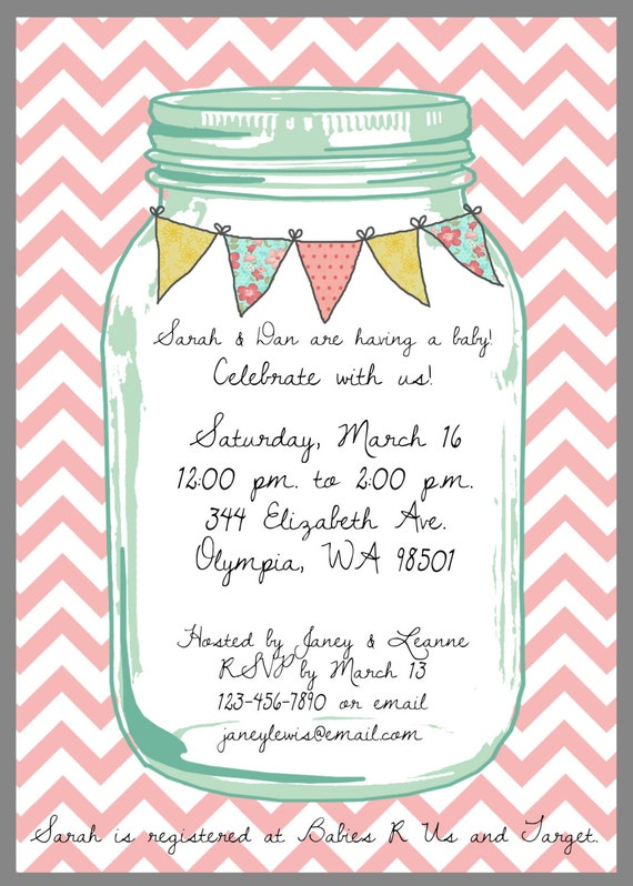 mason jar baby shower invitations mason jar baby shower