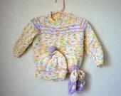 Vintage Neon Rainbow 3pc Knit Infant Set, Size 6-12 Months