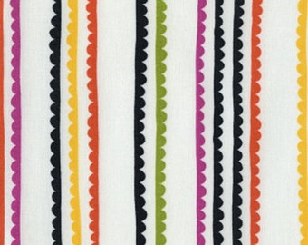 DS AfterGlow Fabric Scalloped Stripe Multicolored Rick Rack on Cream