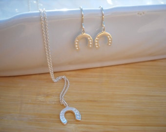 Lucky Horseshoe Necklace, sterling silver, pendant, matching set