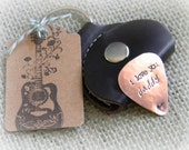 gift idea for men - personalized guitar pick - custom mens gift - guitar pick with leather case