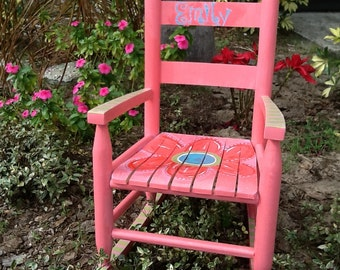 Flower chair, personalized toddler rocking chair