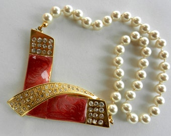 Vintage 1960s  Pearls and crystals choker necklace with spectacular decoration /clasp-Art.691/2-