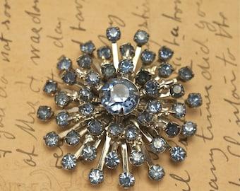 Vintage Blue Rhinestone PIN  SnowFlake Design