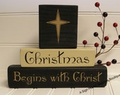 Christmas Begins with Christ stacking block shelf sitter homedecor seasonal holiday decor