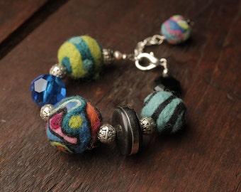 Felted bead bracelet