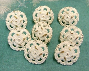 Drawer Pulls 8 Shabby Knobs Chippy Upcycled Soft Vanilla White  Cottage Chic 1.3 Inch Distressed