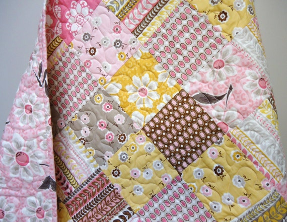 Custom Listing for Molly  Baby Quilts, Baby Girl Quilt, Modern Crib Bedding Patchwork Quilt, Daisy Cottage