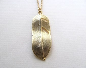 Golden feather pendant necklace on long delicate 14k gold fill chain, vintage-inspired