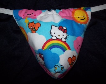 Mens HELLO KITTY CLOUDS G-String Thong Male Wedding Lingerie Underwear