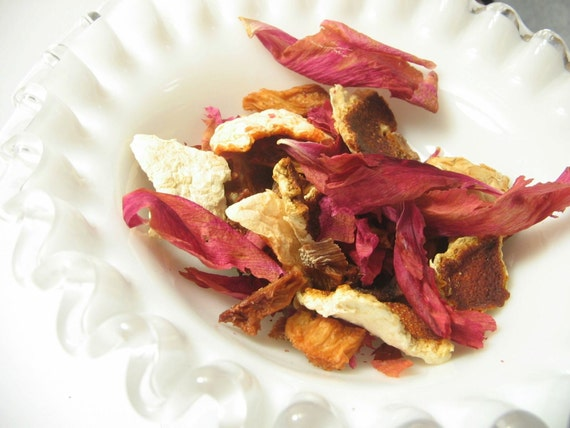 Potpourri with dried pineapple, orange and grapefruit peel, peony petals, and more
