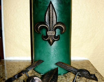 Set of 4 Iron Fleur de lis candle pins, tacks - FREE USA SHIPPING - Old World, French Country, Tuscan, Medieval, Gothic, New Orleans Saints