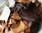 Leather scraps, leather scraps, tan and brown leather pieces for applique,(bag 7) leather hide lamb skin pieces
