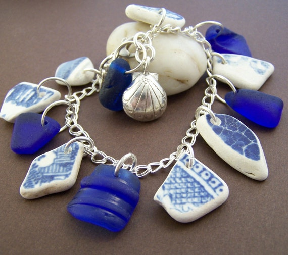 Sand Dune Charm Bracelet - Sea Pottery and Sea Glass Sterling Silver