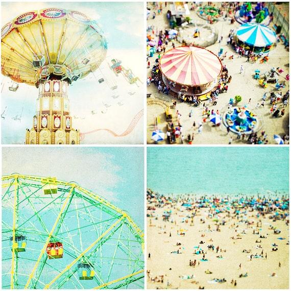 Coney Island Beach Collection- Four 8x8 Archival prints, Coney Island Beach Photography, carnival rides, ferris wheel, beach theme, ocean