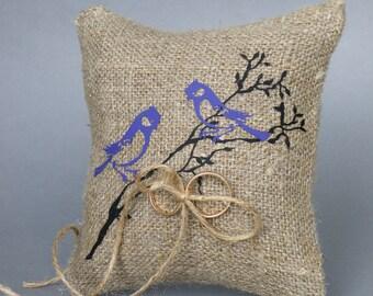Wedding rustic natural linen Ring Bearer Pillow Purple Birds on brunch and linen rope