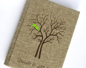 Wedding Guest Book / Wedding Book / Rustic Wedding Guest Book /  Linen Guest Book Size 6.1 X 8.3 inches Cardinals on Tree