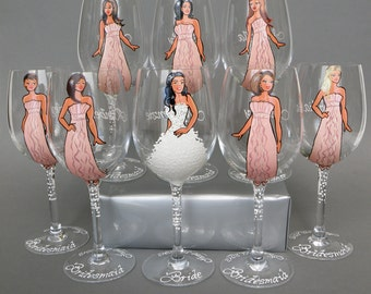 Bridesmaids Gift Bridal Party Wine or champagne Glasses Bridesmaids Personalized Caricatures Handpainted to their Likeness