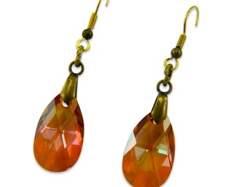 Vintage Bronze Crystal Earrings