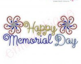 Happy Memorial Day Firework - Instant Email Delivery Download Machine embroidery design