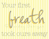 Your First Breath - yellow stripes, 8x10, INSTANT DOWNLOAD