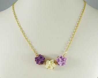 Necklace Lavender Rose Trio Vintage Style