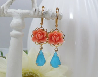 Earrings with Vintage Glass Gems and Orange Flowers