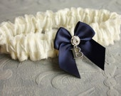Silk & Lace Bridal Garter -- Ivory and Navy Blue, Personalized with Silver Initial - the Adelaide Garter - Wedding Day Something Blue