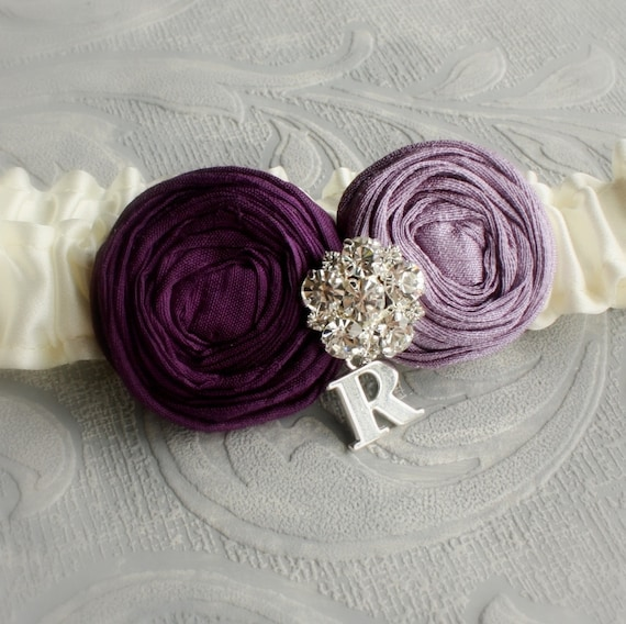 Wedding Garter in Ivory and Purple, Personalized with Silver Initial - the Lucia Bridal Garter (Many Colors Available)