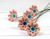 Ceramic flowers Spring decoration  Handmade ceramic bouquet in a color of your choice - orlydesign