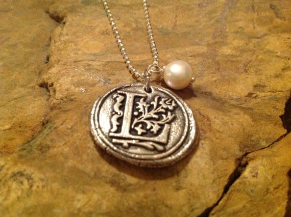 Fine Sterling Silver Wax Seal Initial Pendant Necklace