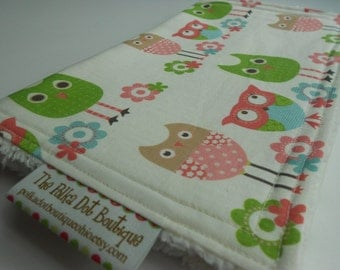 Baby Girl CHENILLE BURP CLOTH  - - Whimsy Owls