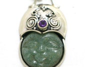 925 sterling silver aventurine peridot and amethyst gemstone face pendant