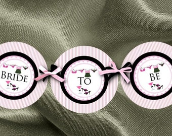 Bridal Shower Banner, Party Bunting, Bachelorette Party, Pink Striped, Sexy Lingerie, Bride to Be