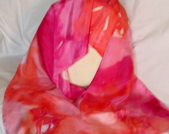 Silk Scarf,Aries The Ram,Reds,Pinks ,Hand Designed,Zodiac,Or Table Runner,14x72 inches,